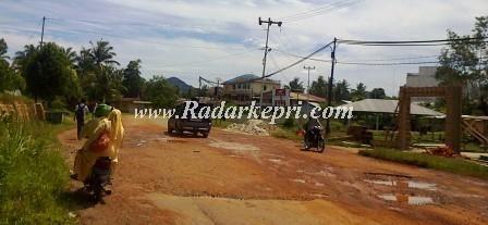 Keusakan jalan Kartini akibat truk PT Harap Panjang di depan SMAN 02 Dabosingkep.