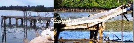 Kondisi dermaga Keter Laut sebelum direhabilitasi dan setelah direhalitasi=