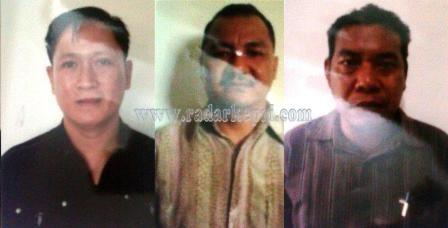 Tersangka korupsi Disdik Natuna, Fredi Ferdianto alias Kim Tjhiu, Tasimun dan Indra Wadi
