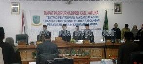 Bupati Dan Ketua serta Wakil Ketua DRPD Natuna saat Mengesahan 14 Perda Kab. Natuna 2014