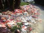 Sampah yang berserakan di tepi jalan karena Kundur tidak memiliki TPA, namun retribusi tetap ditarik Rp 20 sebulan.