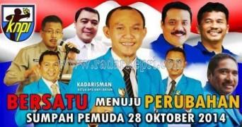 Kadarisman (tengah), resmi menjabat ketua KONI Batam periode 2014-2017 setelah dilantik hari ini, Minggu.