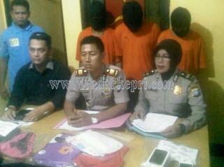 Kapolsek Tanjungpinang Kota, AKP Jupen Simanjuntak (tengah) didamping Kasubaghumas Polres, Ipsda Zubaedah dan Kanit Reskrim, Ipda Raja Vindo saat menggelar konfrensi pers.