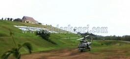 Inilah helikopter TNI AU yang mendarat di halaman kantor Bupati Natuna.